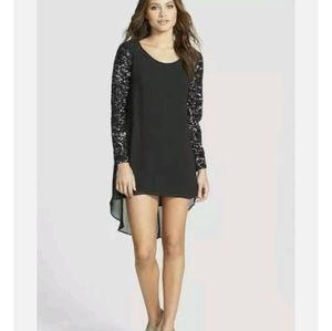 Dress the population April shift dress sequins long sleeve large